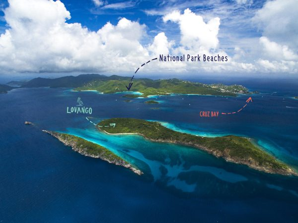 Congo and Lovango Cays with St. John in the distance US Virgin Islands